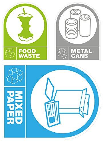 Autocollant Étiquettes : Recyclage Déchets Alimentaires, canettes en métal & mixte papier