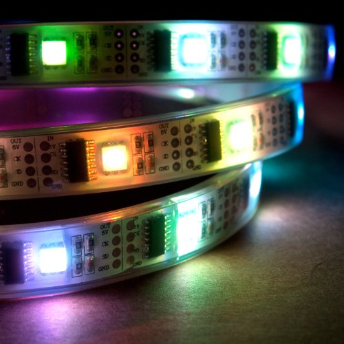 NooElec 1m Addressable RGB LED Strip, 5V, 32 LED/m, Waterproof, WS2801 Full 24-Bit Color, 4-Pin JST-SM Connectors Pre-Soldered to Both Ends