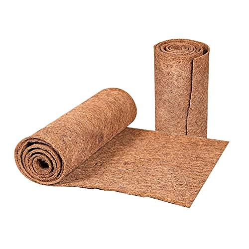 Sucpur Paquete de 2 hojas de fibra de coco natural, 3 pies x 1 pies, alfombra de fibra de coco para jaula de mascotas, aislamiento de coco, rollo de cesta para colgar maceta de coco
