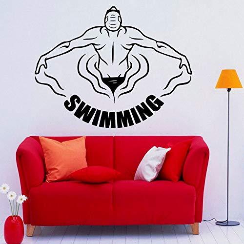 ASFGA Schwimmen Wandtattoos Wassersport Übung Vinyl Fenster Aufkleber Schlafzimmer Pool Kunst Indoor wasserdichte Tapete Fitness Wohnzimmer Club 74x95cm