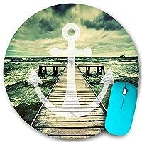 KAPANOU ラウンドマウスパッド カスタムマウスパッド、長い木製の桟橋で海の波のアンカープリント曇り空3D効果プリントデザイン、PC ノートパソコン オフィス用 円形 デスクマット 、ズされたゲーミングマウスパッド 滑り止め 耐久性が 200mmx200mm