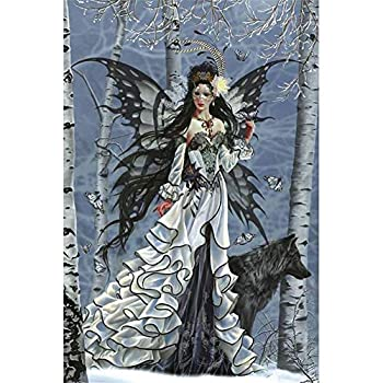 DIY 5D Diamond Painting Kits for Adults Butterfly Fairy Black Wolf Paint with Diamonds Dotz Full Drill Crystal Rhinestone Embroidery Cross Stitch Diamond Art Craft for Home Wall Decor Round 10x12inch