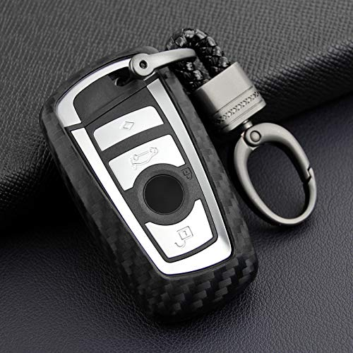 VSLIH Carbon Fiber Style Carbon Fiber Texture Car Key Case Cover Holder Pouch Remote Key Bag Fit for BMW keyless Remote Control Smart Key Fob Holder 1/2/3/4/5/6/M/X Series X3 keychian