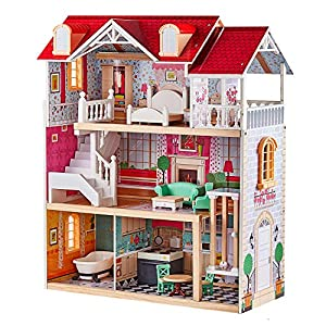 TOP BRIGHT Country Estate Wooden Dollhouse with Elevator Dream Doll House for Little Girls 5 Year Olds