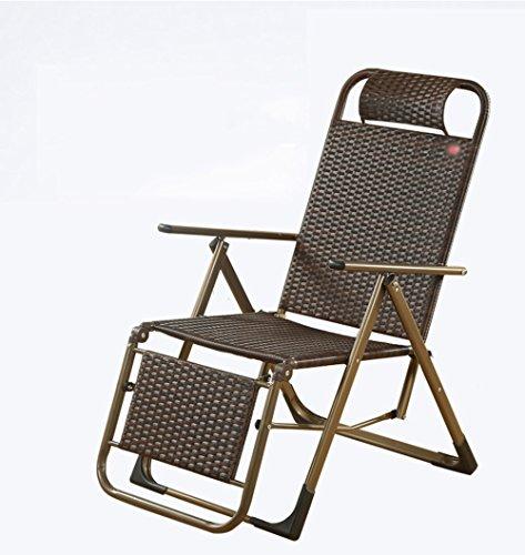 Goquik Triple rotan rieten stoel/siësta stoel/ligstoel kantoor lunchpauze/zomer huis klapstoel opvouwbare rieten stoel/outdoor lounge stoel/stoel