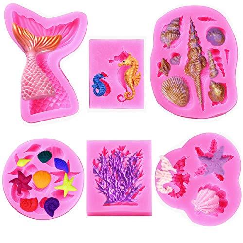 Elfkitwang Marine Theme Fondant Silicone Mold,Seashell,conch, Mermaid Tail,Seahorse,starfish,coral, DIY Handmade Baking Tools for Mermaid Theme Cake Decoration(6pack)