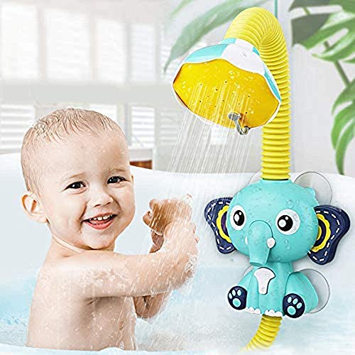 SUNWUKING Baby Bath Toys Electric Elephant Animal Sucker Electric Shower Rain Head Kids Bathing Time Toddlers Game Toy 4 X 1.5V AAA Required (Not Included)