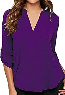 BOFETA Women's V Neck Casual Chiffon Solid Roll Up Sleeve Pullover Top and Blouse