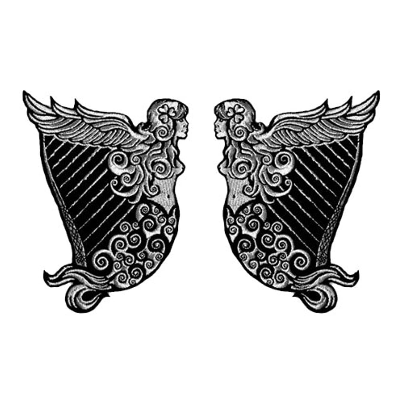 VEGASBEE IRISH HERITAGE HARP WINGED MAIDEN ERIN SILVER METALLIC EMBROIDERED TWO PATCH SET