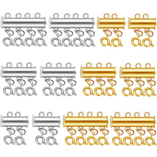 12 Pieces 3 Sizes Slide Clasp Lock Necklace Connectors Multi Strand Slide Tube Clasps Jewelry Connectors for Layered Bracelet Necklace Jewelry Crafts