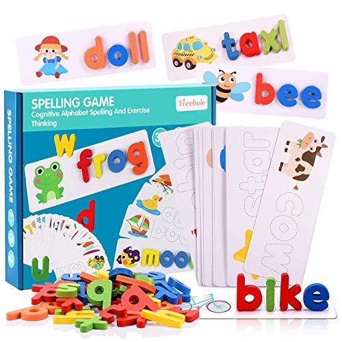 Scrabble Buchstaben,Passende Rechtschreibspiele,Kinder Holzspielzeug Buchstabieren Set,Holz Montessori Spielzeug Lernspielzeug Pädagogisches Geschenk für Kinder 1 2 3 Jahre,Weihnachten Geburtstag
