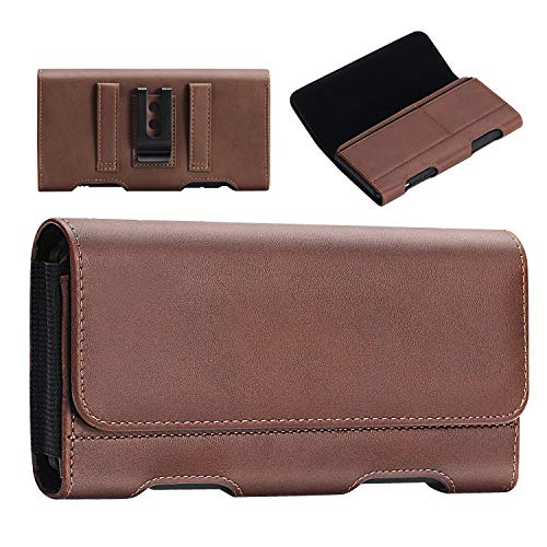 BECPLT iPhone 11, iPhone 11 Pro Max Holster - iPhone Xs Max 8 Plus 7 Plus 6s Plus 6 Plus Leather Belt Case with Belt Clip/Loop Premium Pouch w/Built in ID Card Holder (for Slim Thin Case on) - Brown
