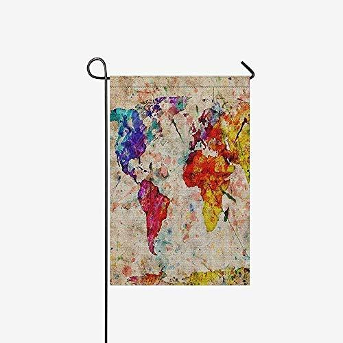 Home Yard Decor Flag,Huis Decoratieve Vlaggen,Seizoensgebonden Tuin Vlag Banner,Grunge Map De Wereld Vintage Wereldkaart Outdoor Vlaggen Voor Bruiloft, Jubileum, Party
