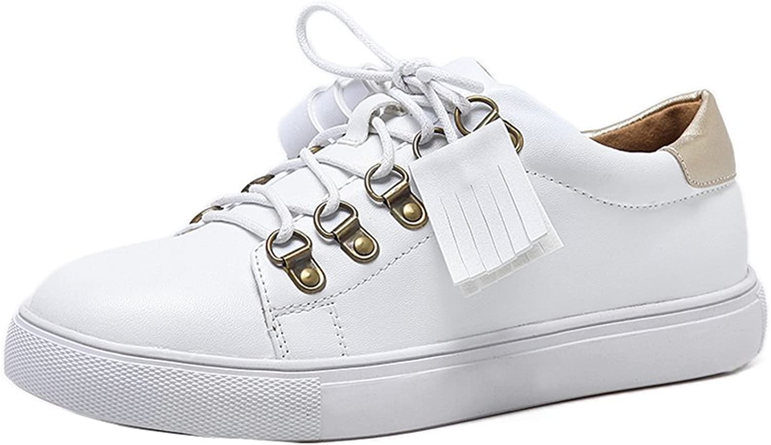 1TO9 Womens Lace-Up Light-Weight Microfiber White Microfiber Walking shoes - 7 B(M) US