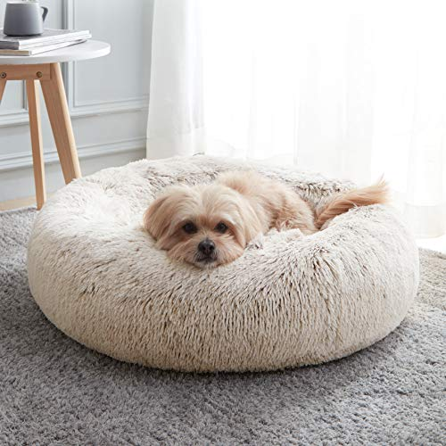 Calming Dog Bed & Cat Bed, Anti-Anxiety Donut Dog Cuddler Bed, Warming Cozy Soft Dog Round Bed, Fluffy Faux Fur Plush Dog Cat Cushion Bed for Small Medium Dogs and Cats (20'/24'/27')