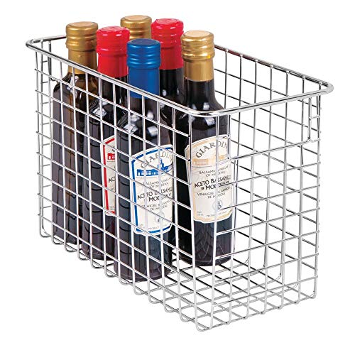mDesign Household Metal Wire Storage Organizer Bins Basket with Handles for Kitchen Cabinets, Pantry, Bathroom, Landry Room, Closets, Garage - 12 x 6 x 8, Chrome