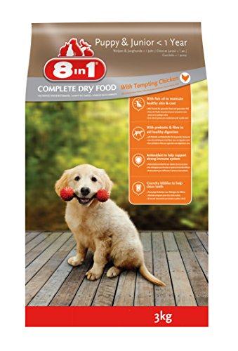 8in1 Hund Puppy & Junior Huhn (Trockenfutter für Welpen mit Hühnchen), 3 kg Beutel, 2er Pack (2 x 3 kg)