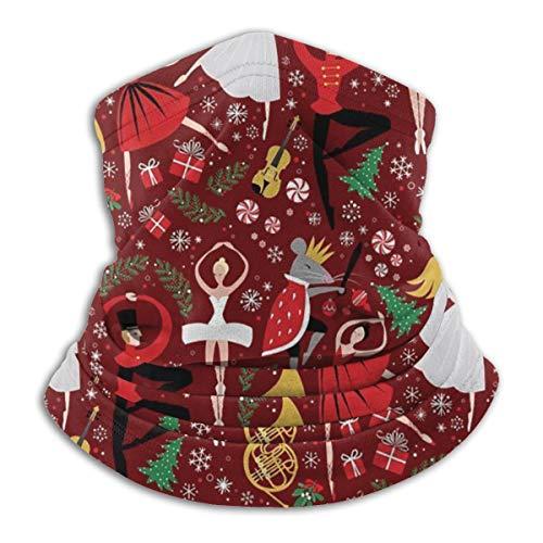 Price comparison product image Fleece Neck Warmer - Nutcracker Ballet Red Med Neck Gaiter Tube,  Bandana,  Mask,  Headband & Beanie