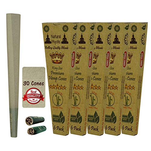 King Size Cones Organic Rolling Paper - 30 Pre Rolled Classic Cone Pre-Rolled Tip With Slow Burn Raw Extract Cone Hand Rolled Papers Ultra Thin One Hitter Brown With Filter Tips Natural Mystic 6 Packs