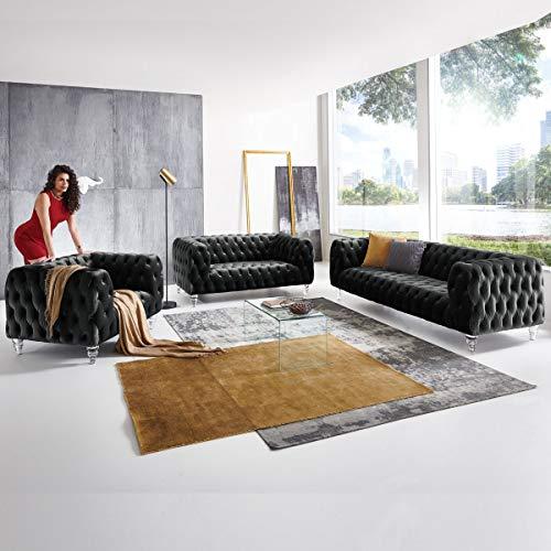 Moebella Designer Couchgarnitur 3-2-1-Sitzer Chesterfield Sofa Samt-Stoff Acryl-Füße Kristall Glas-Optik Knopfheftung Deluxe Luxus Möbel (Schwarz)