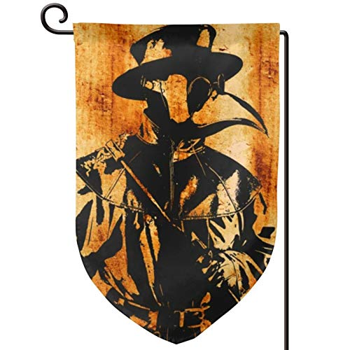 Voglawear Distressed Plague Doctor Artwork Steampunk Style Garden Flag - Double Sided Banners for Outdoor Indoor Home Garden Yard Decorations