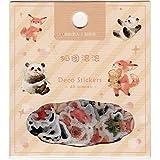 【キツネとパンダ】ミニミニフレークシール(45pieces)・海外