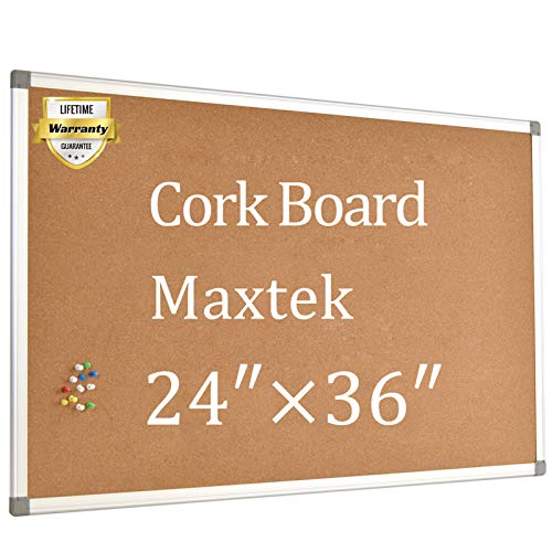 Cork Board Bulletin Board � 24 x 36 Message Board Wall Mounted Pin Board Aluminum Framed with 12 Pins