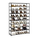 YOUDENOVA Zapatero de 5-10 Niveles Organizador de Zapatos para 50 Pares de Zapatos para Entrada, Dormitorio, Sala de Estar150x93x30 Negro