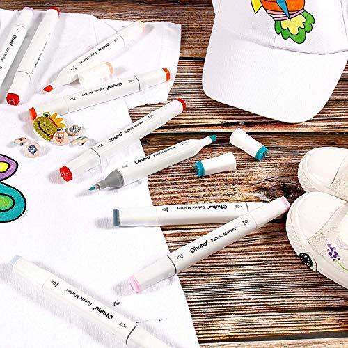 Ohuhu布用染色ペンツイン36色布用ペン布書き名前つけ太/細両用耐水性顔料DIY手作りハンドメイドジーンズTシャツかばんスニーカー