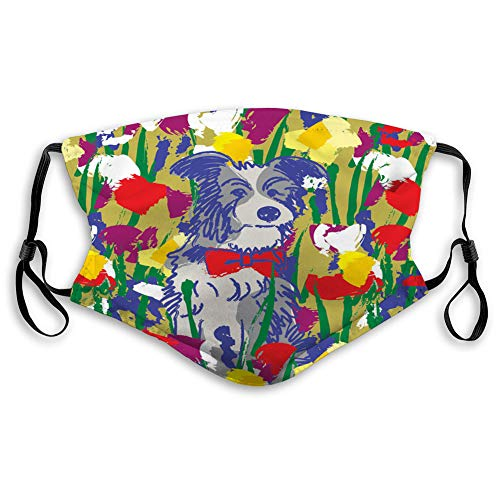 Lowest Prices! DISGOWONG Reusable Cotton Mouth Covers Dog in Flowers Happy Animal Nature Printed Cov...