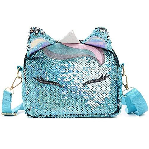 BETOY Bolso Unicornio de Hombro,Brillo Lindo Monedero con Lentejuelasc,3D Bolsa de Mensajero para Mujeres niñas,Del Monedero de Cuero Bolso Azul(azul)