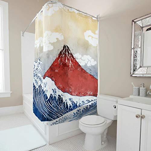 Butterfly Goods Cortina de ducha japonesa Ukiyoe Fuji Big Wave de calidad de hotel reforzada, ojales reforzados, cortinas de baño con ganchos, para cuarto de baño, color blanco, 150 x 180 cm