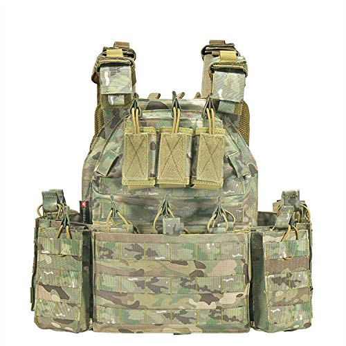 Armiya Men's Molle Tactical Military Chest Rig Law Enforcement Work Vest Combat Condor Security Training Tool Pouch for Outdoor Paintball CS Game Airsoft Climbing Hiking  (cp camo)