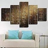 VYQDTNR Imagenes Enmarcadas Arte De Lienzo Enmarcado De 5 Piezas Antiguo jeroglífico Egipcio Pinturas sobre Lienzo Arte De Pared para Decoraciones De Hogar Decoración De Pared Obra De Arte-Marco