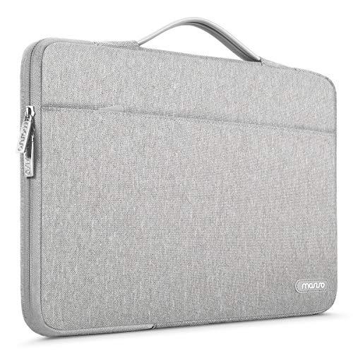 MOSISO 360 Schutz Laptop Aktentasche Kompatibel mit 13-13,3 Zoll MacBook Pro, MacBook Air, Notebook Computer, Polyester Stoßfeste Tasche mit Trolley Gürtel, Grau