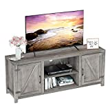 kealive TV Stand Farmhouse Barn Doors Wood Metal Entertainment Center and Media Console with Storage Cabinet and Shelves for TVs Up to 65', Gray Wash