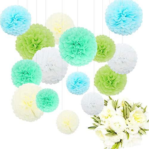 Himeland 15x Papierblume Deko, Seidenpapier Pom Poms Pompons Set, für Geburtstag, Hochzeit, Baby Dusche, Parteien, Hauptdekorationen