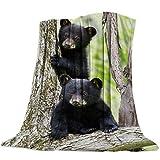 Singingin Ultra Soft Flannel Fleece Bed Blanket Cute 3D Little Black Bear Animal Pattern Throw Blanket All Season Warm Fuzzy Light Weight Cozy Plush Blankets for Living Room/Bedroom 50' x 60'