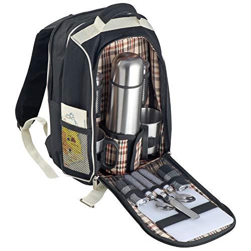 Picknickrucksack mit Isolierflasche aus Edelstahl mit integrierter Kühltasche
