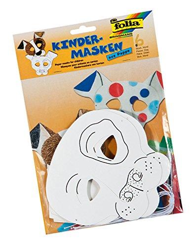 folia 23201 - Kindermasken Hund, aus Pappe, 6 Stück, weiß, zum selbst Bemalen und Gestalten, für Kinder, Jungen und Mädchen, ideal für Kindergeburtstage und Partys