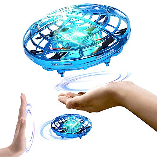 EIATBF Hand Operated Flying Mini UFO Drone, Kids Hands Free Helicopter ,Hand Controlled Mini Quadcopter for Kids , Boys and Girls Interactive Flying Ball Toy Party Present with LED Lights (Blue)