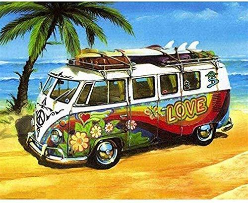 SWAOOS Rompecabezas Puzzle 1000 Rompecabezas Rompecabezas de Beach Love Bus Memory Brain Challenge para niños Adultos Amigo Familiar Adecuado