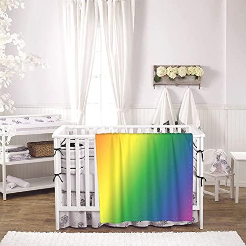 Color Gradient Unisex Plush Blanket Infant Newborn Receiving Blanket for Crib Stroller Travel Decorative One Size Black