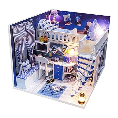 F Fityle Kit casa delle Bambole in Miniatura Kit di mobili in Miniatura in Legno per casa delle Bambole Fai-da-Te Mini casa Stellata Blu con Luce LED e