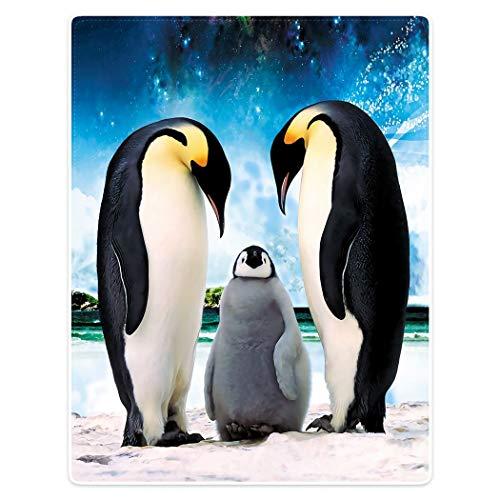 YISUMEI Kuscheldecke Blauer Himmel Pinguin Decke Flauschige Weich Fleecedecke für Sofa Bett 135x200cm