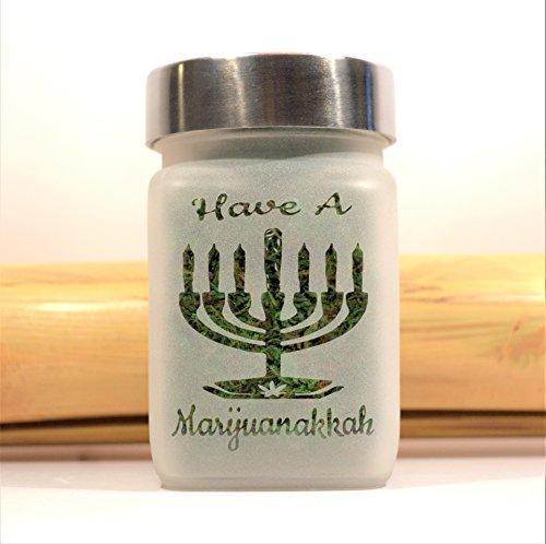 Limited Edition Marijuana Hanukkah Menorah - Have a Marijuanakkah Stash Jar - Canna Holiday Gift, Stoners Gift, Etched Glass, Airtight, Smell Resistant