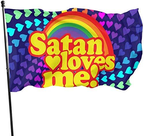 Satan Loves Me Dekorative Garten-Flagge, für den Außenbereich, Kunstfahne für Zuhause, Garten, Hof, Dekoration, 91 x 152 cm