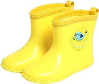 Kids Wellies Waterproof Rain Boots Water Shoes - Boys Girls Wellingtons Boots Lightweight Slip Resistant Rain Footwear Durable Short Boots, Yellow Blue Pink Rose