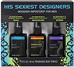 Designer Imposters¨ Fragrance Body Spray Trio Gift Set - Featuring Mascolino, Rule, and Strike, 4.5 Oz