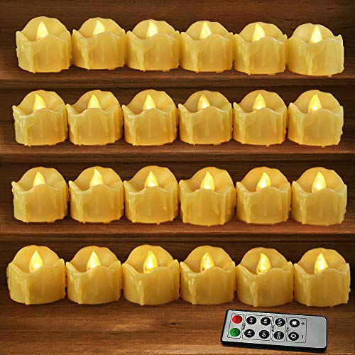 HOME MOST Set of 24 LED Votive Candles with Remote and Timer (Cream) - LED Flameless Votive Candles Flickering - Valentines Day Decor Votive Candles Battery Operated Bulk Rustic Wedding Decorations